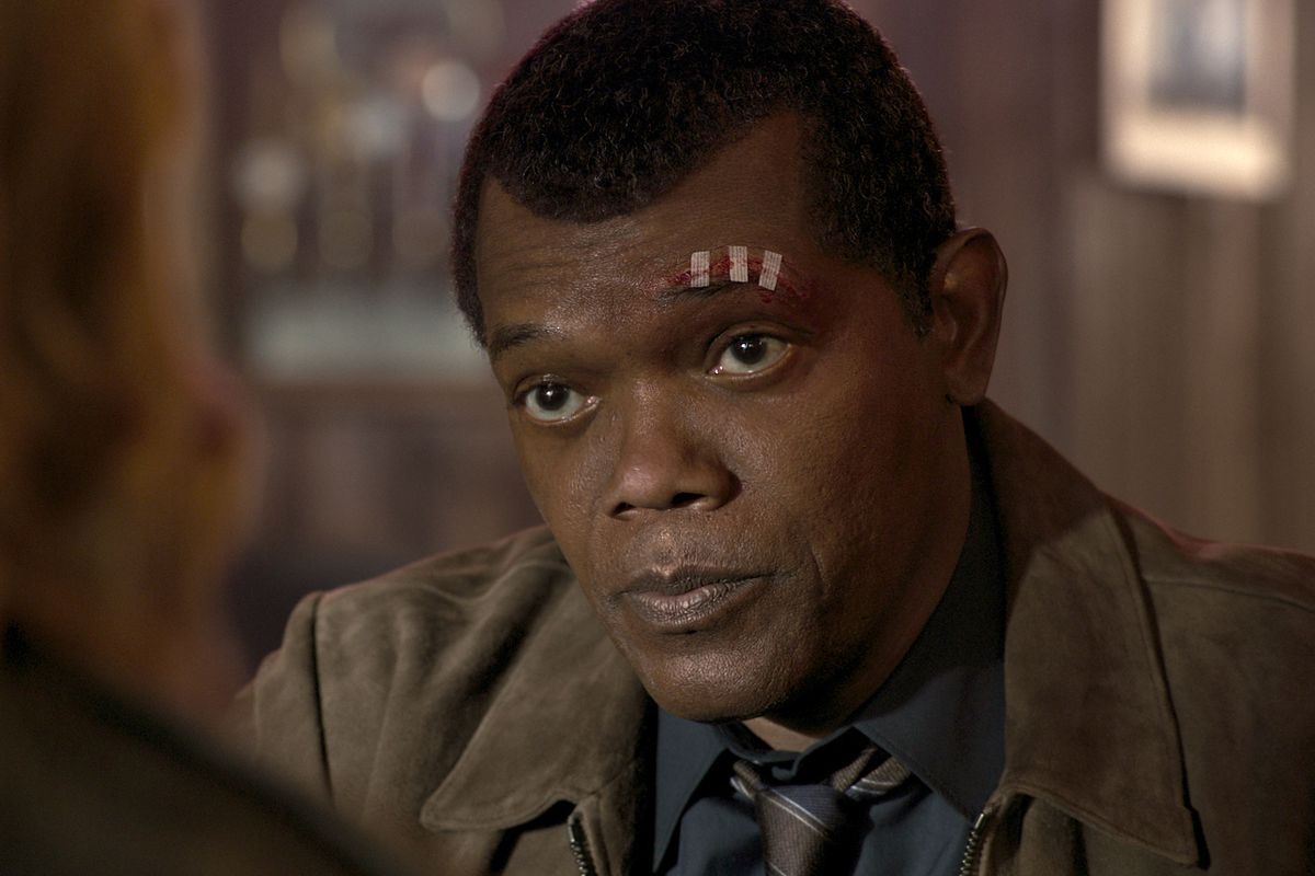 Samuel L. Jackson as young Nick Fury in 'Captain Marvel'