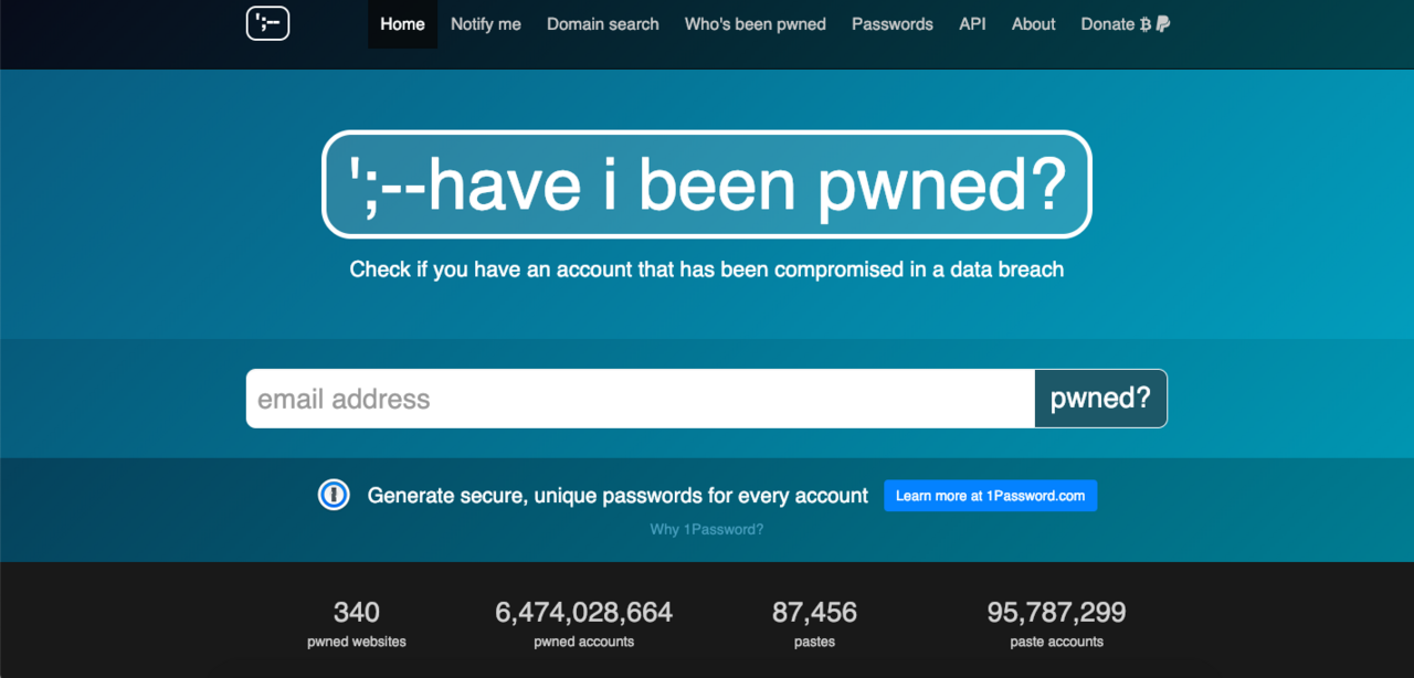 Image from Have I Been Pwned