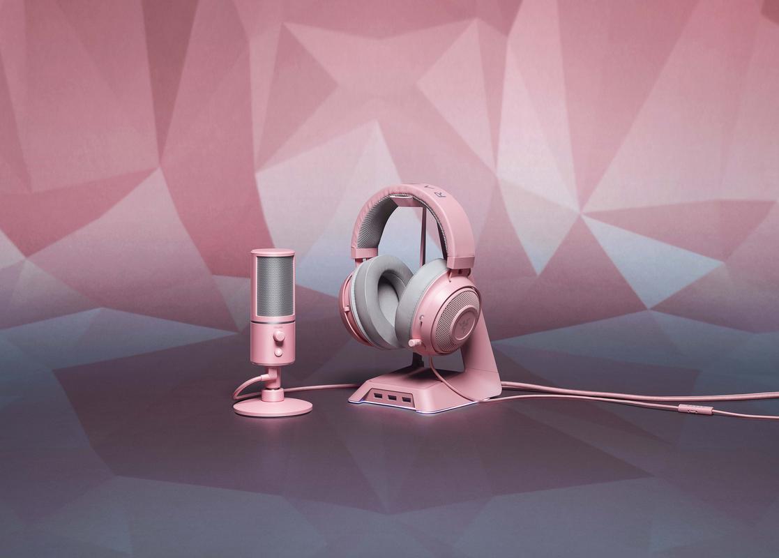 Razer Seiren X microphone and Razer Kraken headset on Razer Base Station Chroma headset stand in Quartz Pink.