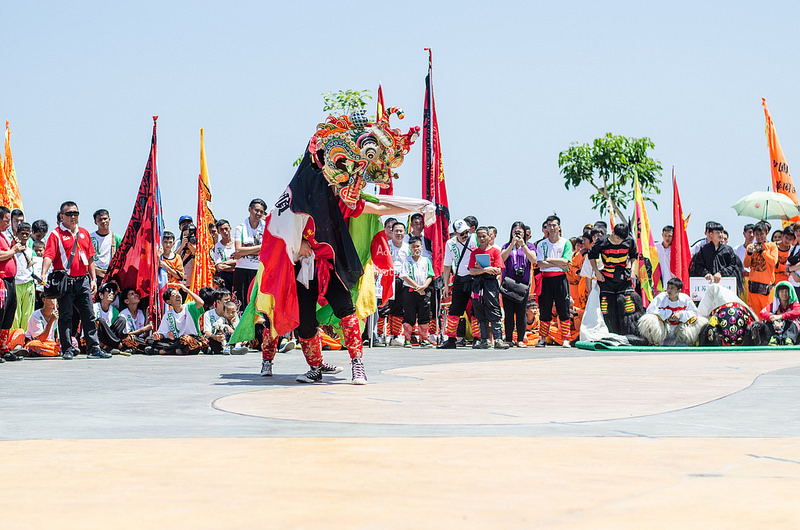 The Hakka unicorn dance being performed in Sabah.