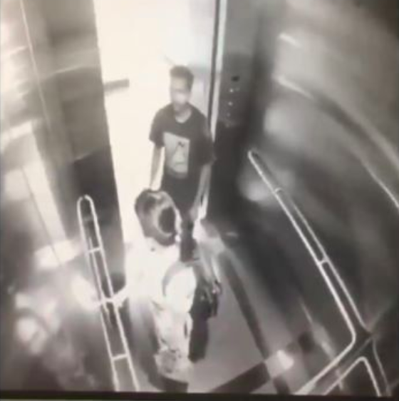 Screengrab from the CCTV footage inside the lift shows the assaulter.