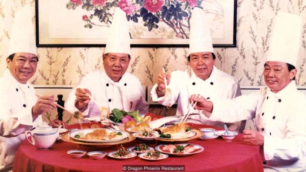 The four Singaporean chefs who reportedly created the version of Yu Sheng today.