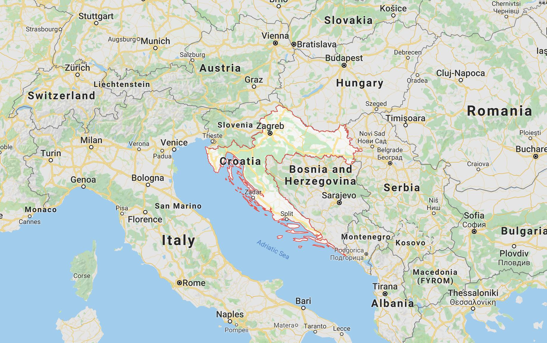 Croatia (outlined in red)