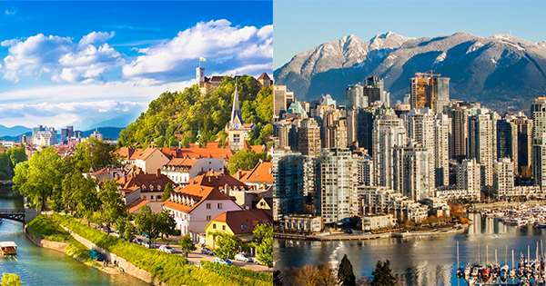 Ljublana, Slovenia (left) and Vancouver, Canada (right).