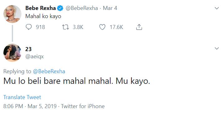 Image from Twitter @BebeRexha