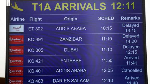 A flight information board in Nairobi displays the details of Ethiopian Airlines Flight ET 302.