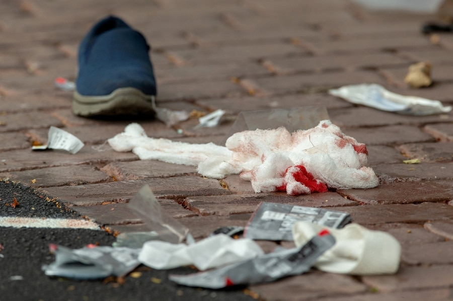 Bloodied bandages on the road following a shooting at the Al Noor mosque in Christchurch.