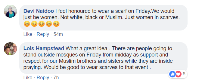Image from Facebook Scarves in Solidarity