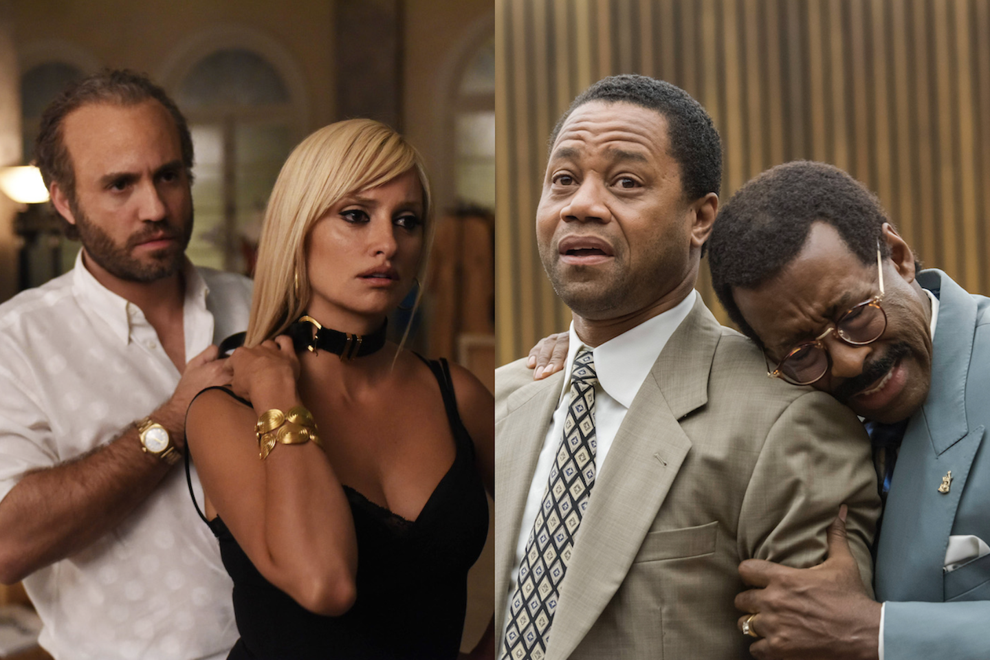 Édgar Ramírez and Penelope Cruz in 'The Assassination of Gianni Versace' (left); Cuba Gooding Jr. and Courtney B. Vance in 'The People v. O. J. Simpson' (right).