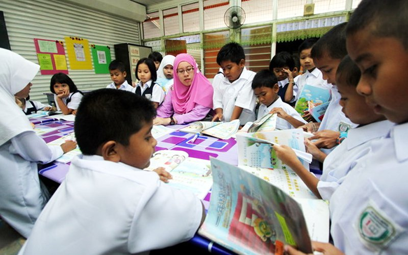 Image of a class in progress at a school in Sabah for illustration purposes only.