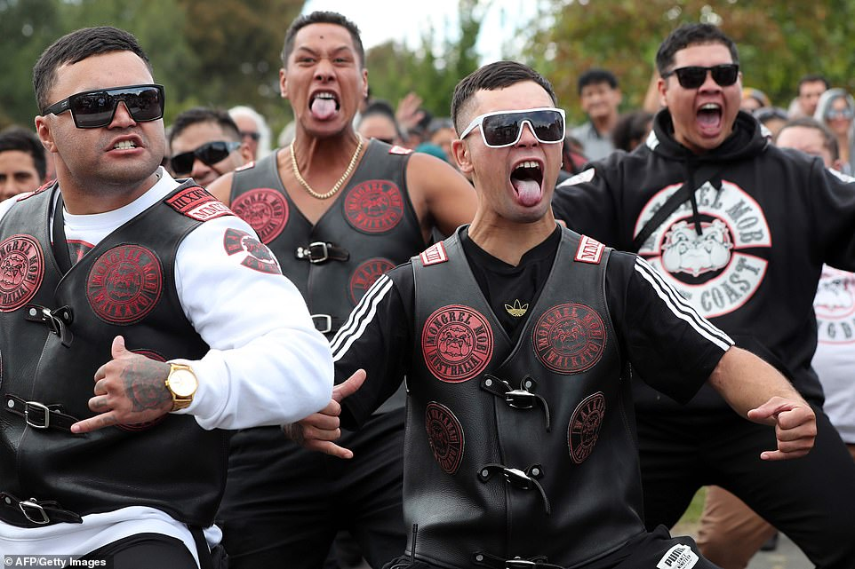 The Biker gang pictured performing a Haka at the Jamia Masjid mosque in Hamilton.