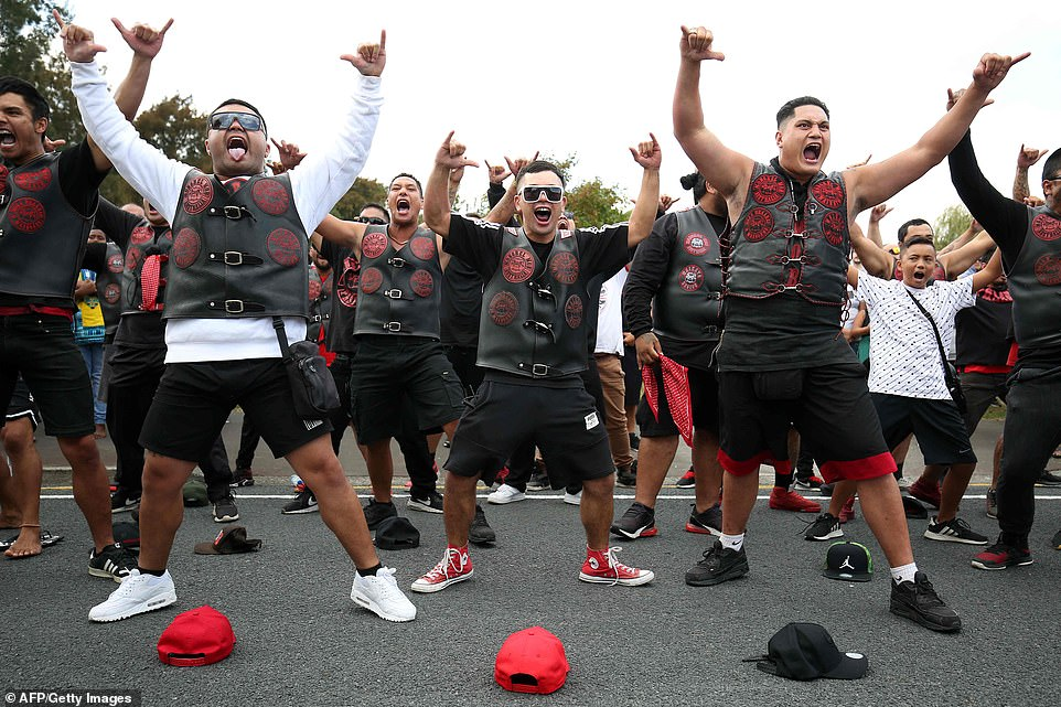 Members of the Mongrel Mob perform a Haka on Friday.