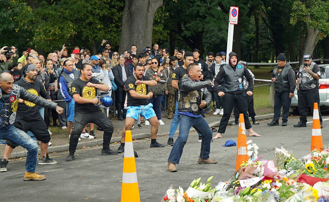Members of a New Zealand biker gang pay their respects to the victims of the mosque shootings.