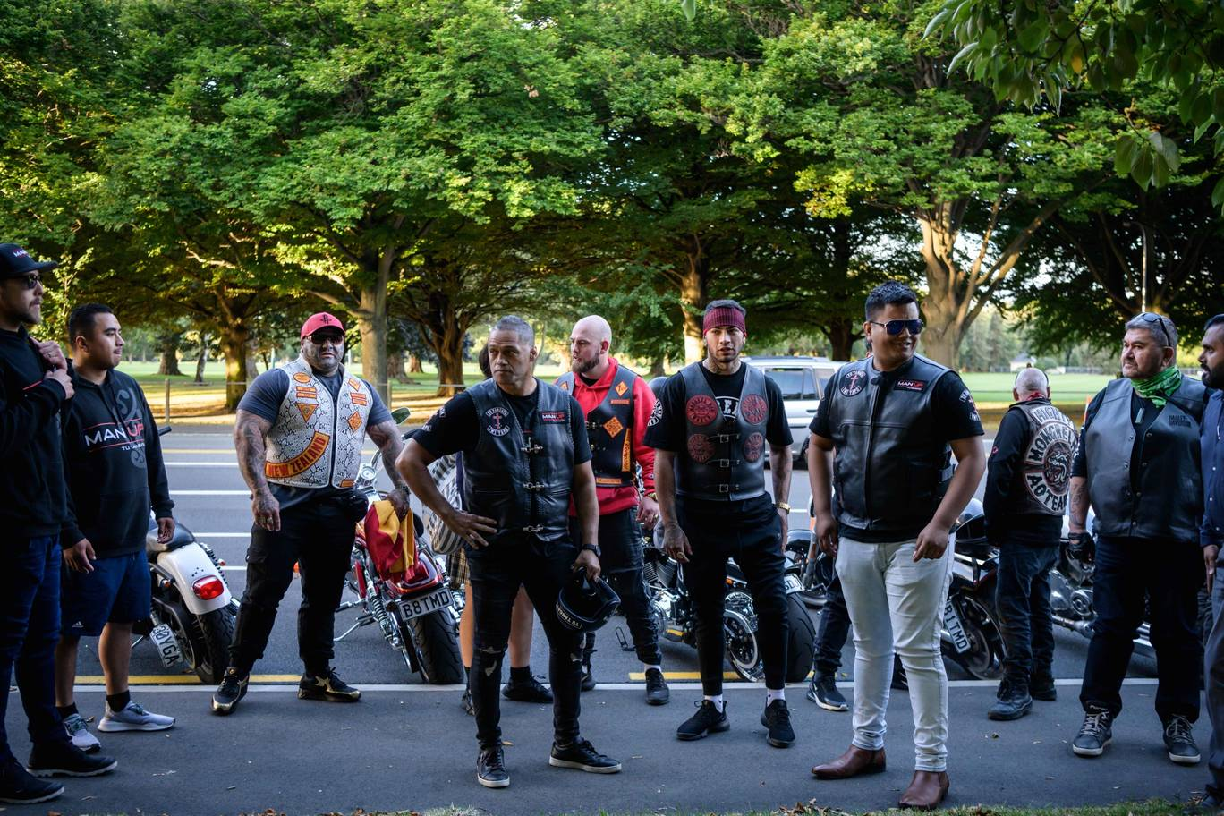 Biker gang members pay their respects to victims of the Christchurch shootings