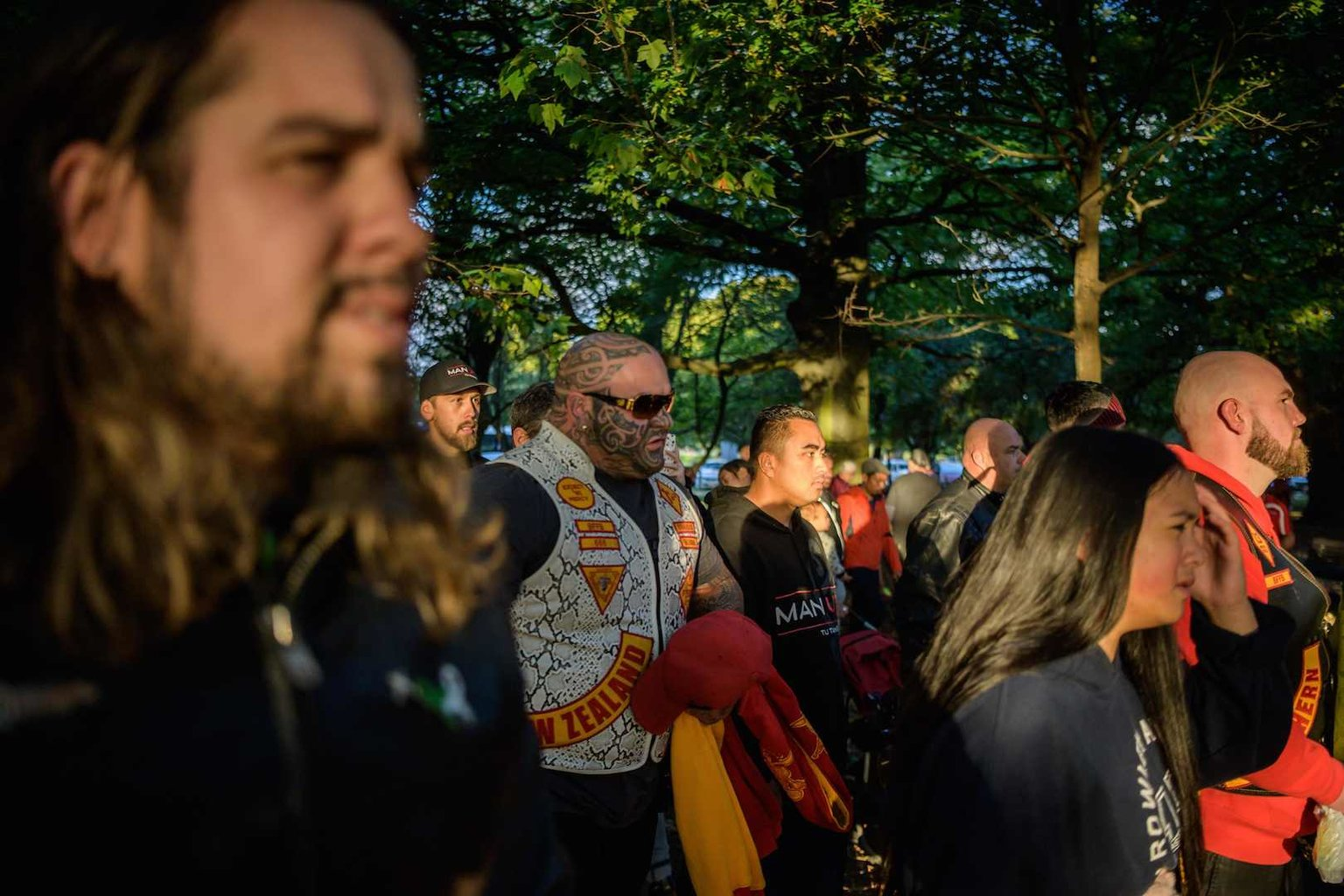 Members of biker gangs arrive before performing the haka in front of a gathering of people as a tribute to victims in Christchurch