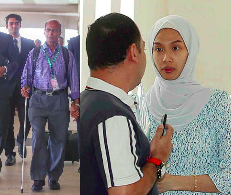 Placid P Rodriguez leaving the Sessions Court yesterday, and Nur Dhia Liyana in the Court last year.