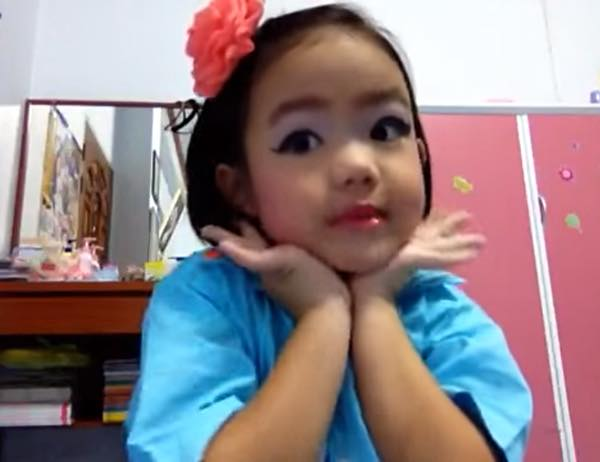 Three-year-old Nathannan in her first YouTube video.