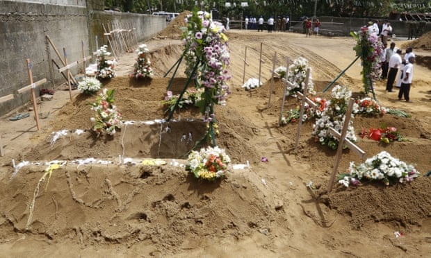 Victims of the bombings buried in Colombo, Sri Lanka earlier today, 23 April.
