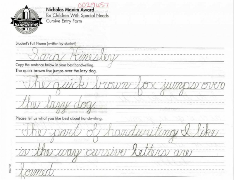 Image from Zaner-Bloser National Handwriting Contest