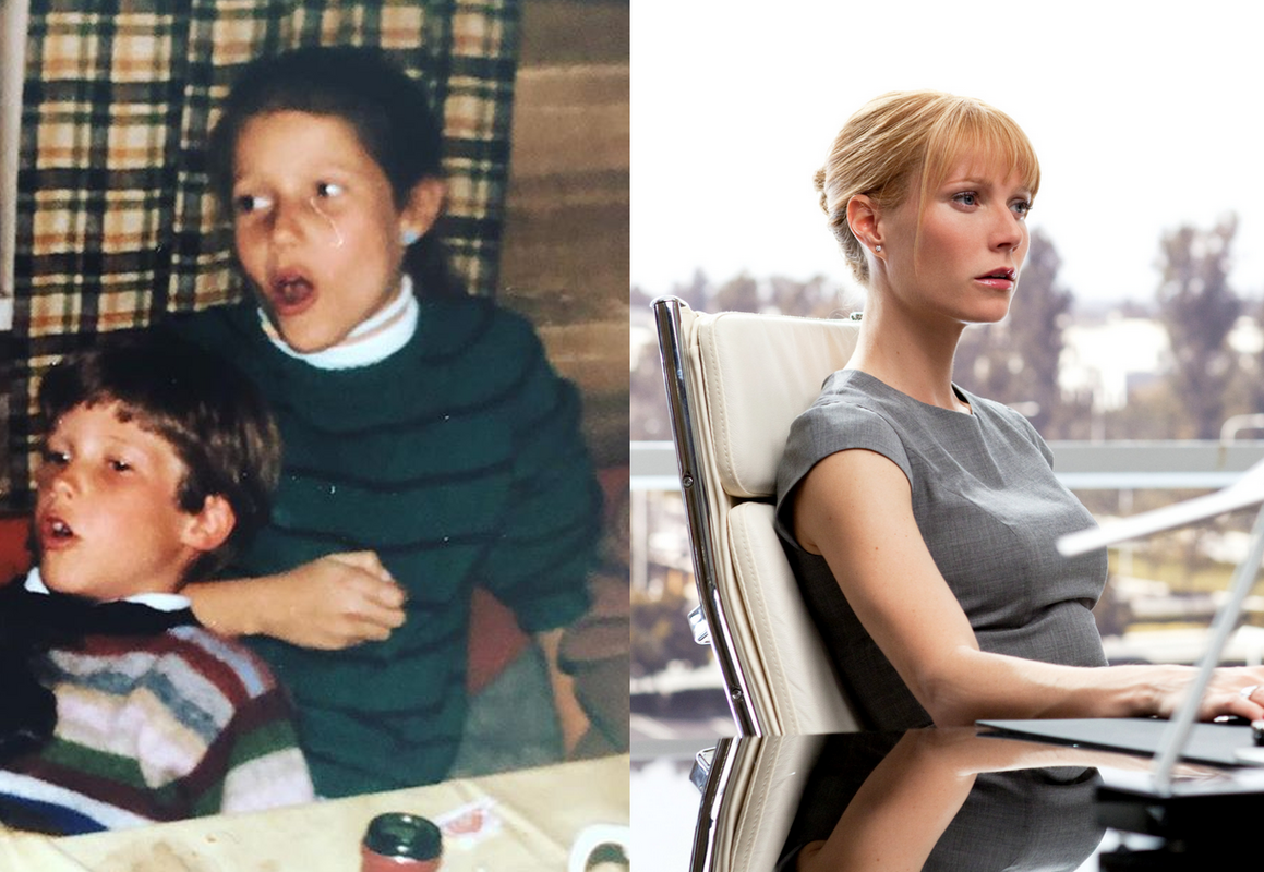 Gwyneth Paltrow circa 1982 (left) and as Pepper Potts in 'Iron Man 2' (right).