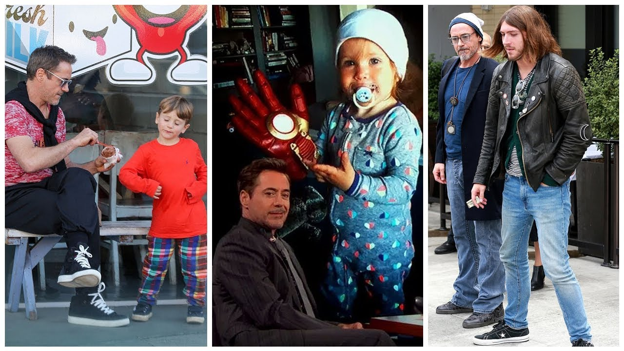 From left: Robert Downey Jr. with his children Exton, Avri, and Indio.
