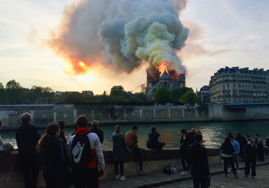 The fire at the Notre-Dame last month.