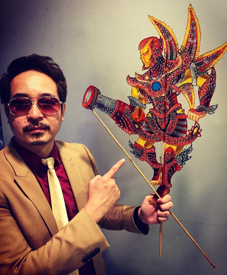 Chuo with an Iron Man wayang kulit puppet he made in conjunction with the release of 'Avengers: Endgame'.