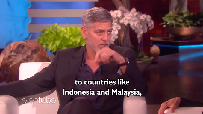 The moment Clooney singled out Malaysia and Indonesia during the interview with Ellen.