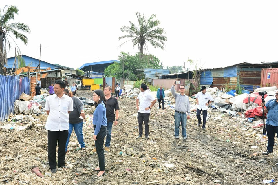 A raid on an illegal plastic waste recycling centre in Klang on 17 January.