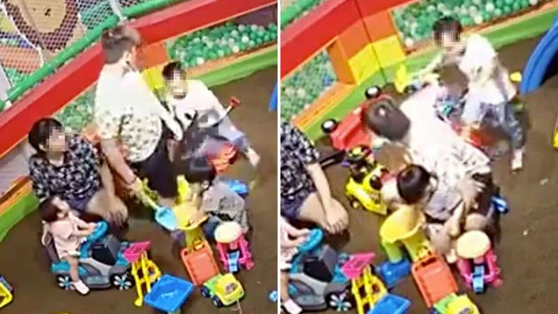 Screengrabs from a video showing Soo Wen Jie kicking and shoving the child.