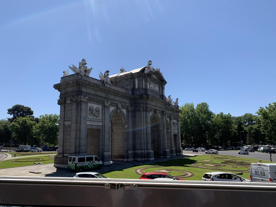 Puerta de Alcalá is a national monument of Spain, a triumphal arch built to celebrate the arrival of King Charles III to Madrid.