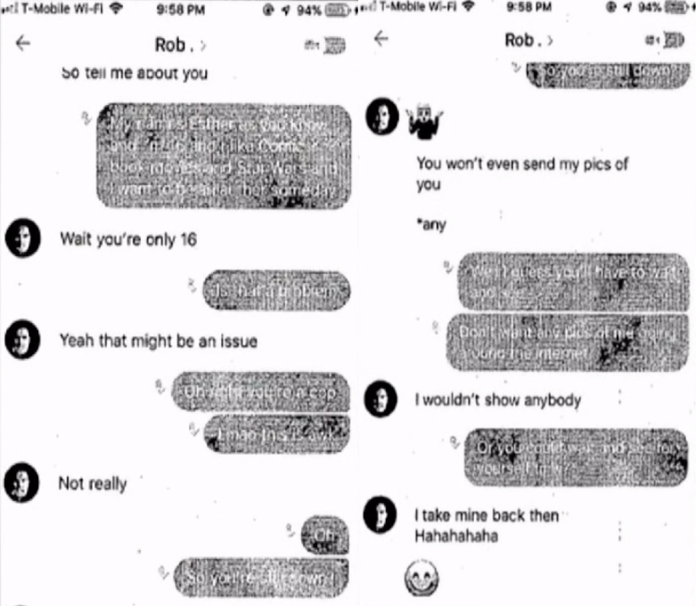 Screenshots of the text messages.