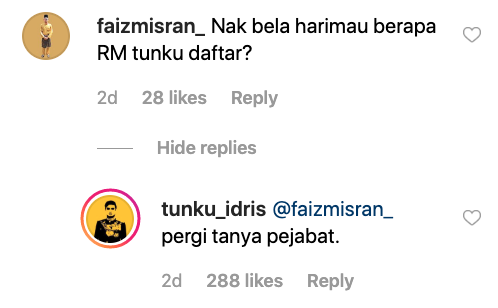 Image from Instagram @tunku_idris