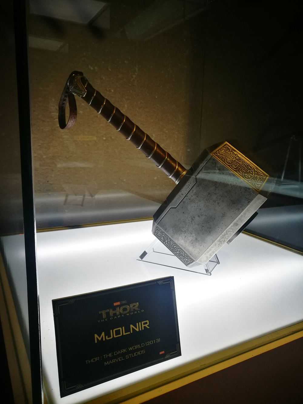 An actual Mjølnir prop from 2013's 'Thor: The Dark World', flown in from London for the exhibit.