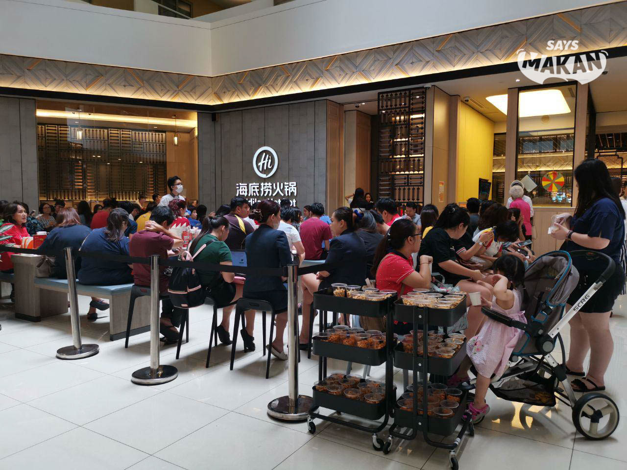 The amount of people waiting to dine at Haidilao Hot Pot, Sunway Pyramid on a Friday afternoon.