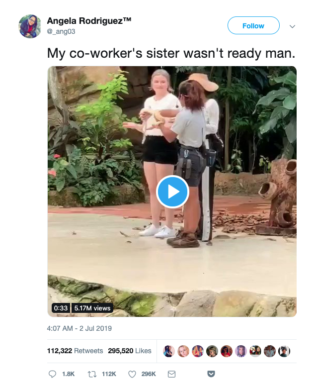 """viral tweet that reads """"My co-worker's sister wasn't ready man""""."""