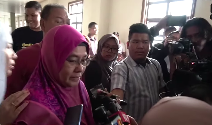 Zulfarhan's mother, Hawa, speaking to reporters outside the courtroom.