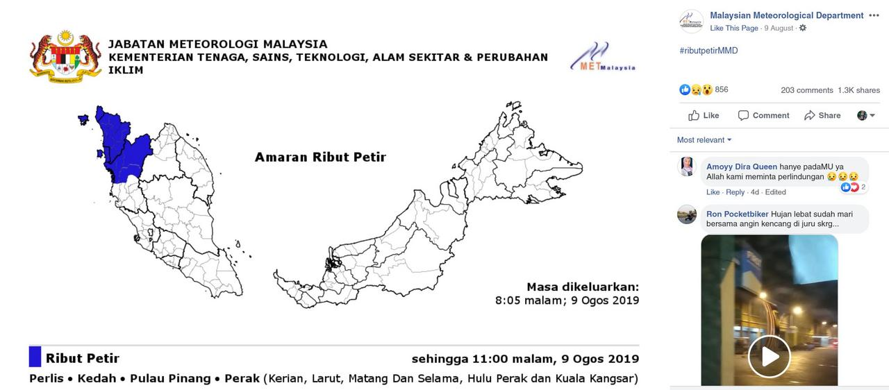 Image from Malaysian Meteorological Department