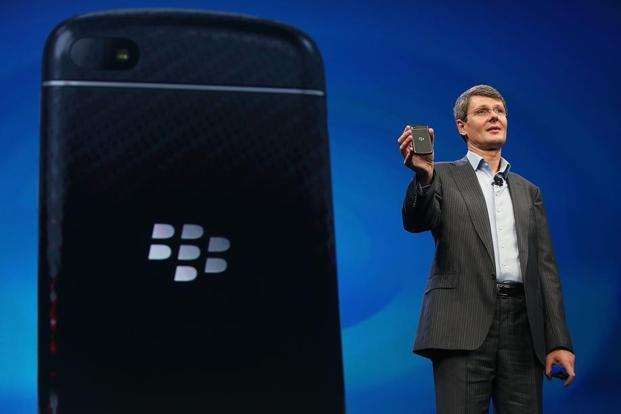 One of the new Blackberry smartphones at the BlackBerry10 launch event by Research in Motion in Manhattan, New York City. The new smartphone and mobile operating system is being launched simultaneously in six cities.
