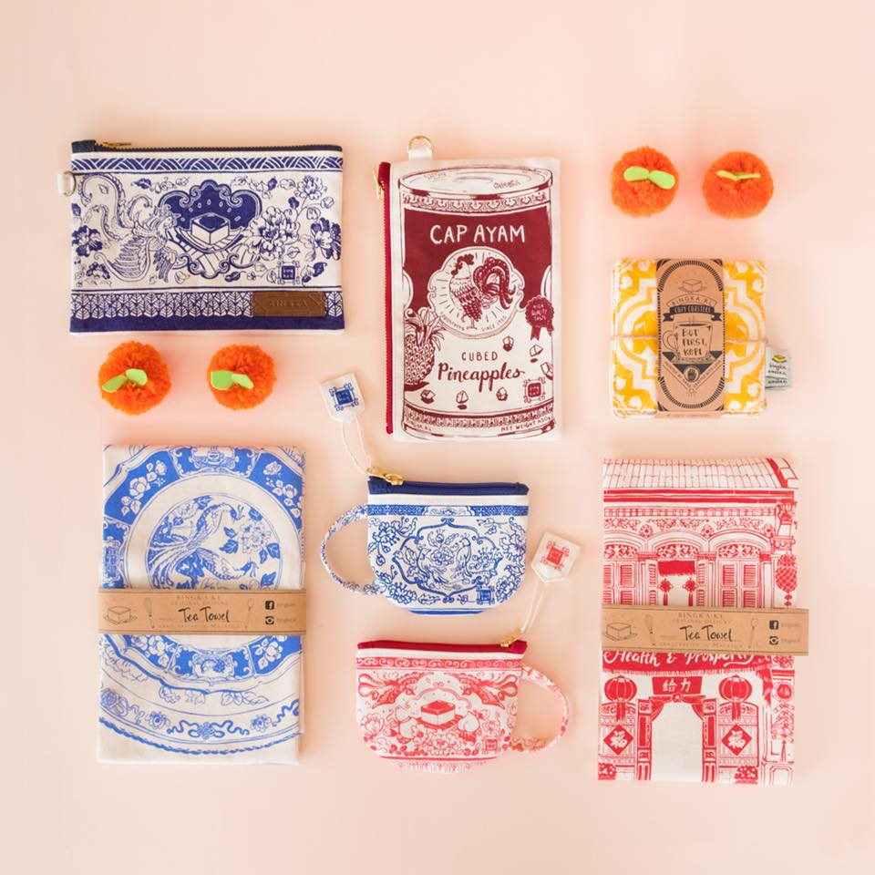 Bingka KL makes pouches, tea towels, pillows, and more!