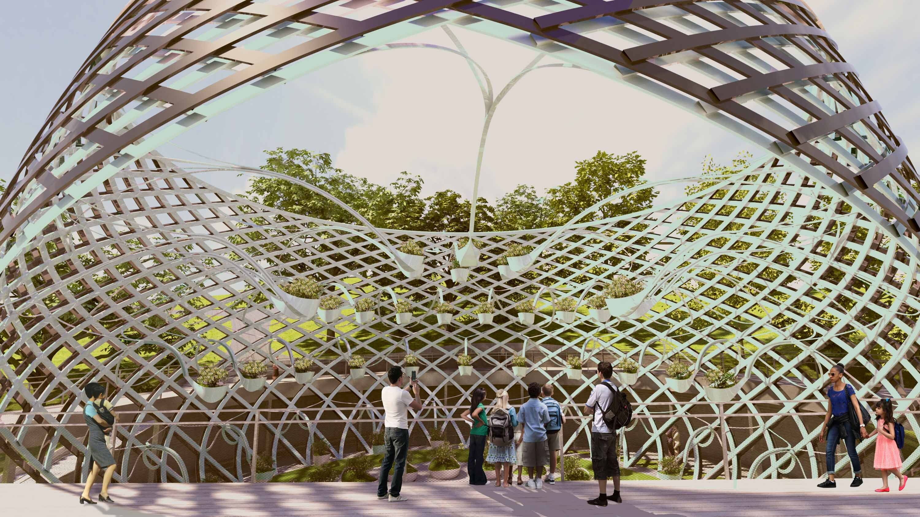 An artist's impression of one of the vessel-like structures, which will feature fragrant plants, to be built along the Sentosa Sensoryscape.