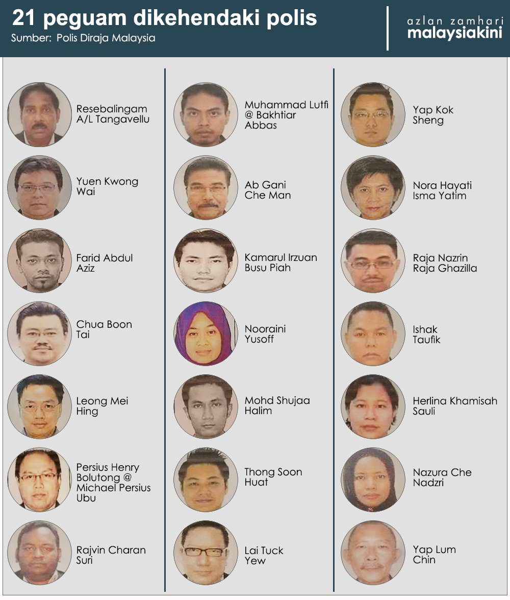 The 21 lawyers wanted by the police.