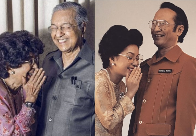 Actress Farah Nadia Zainal Abidin and actor Hasnul Rahmat (right) posing as Dr Siti Hasmah and Dr Mahathir.