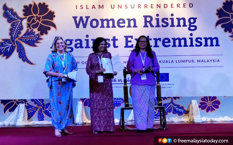 (From left) Head of the European Union delegation to Malaysia Maria Fernandez Castillo, social activist Marina Mahathir, and SIS executive director Rozana Isa at the launch of the survey.