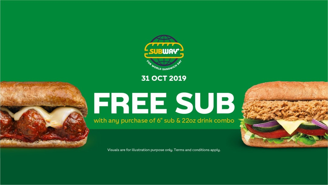 Image via Facebook Subway Malaysia Buy 1 Free 1 World Sandwich Day