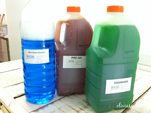 From left: Floor cleaner, Pine gel disinfectant, and dishwashing liquid.