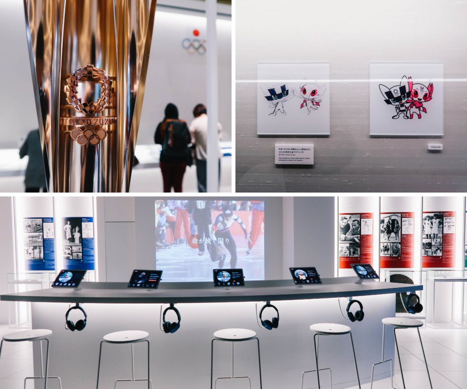 The Tokyo 2020 torch, mascots, and video storytelling station.
