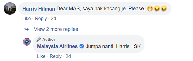 Image from Facebook Malaysia Airlines