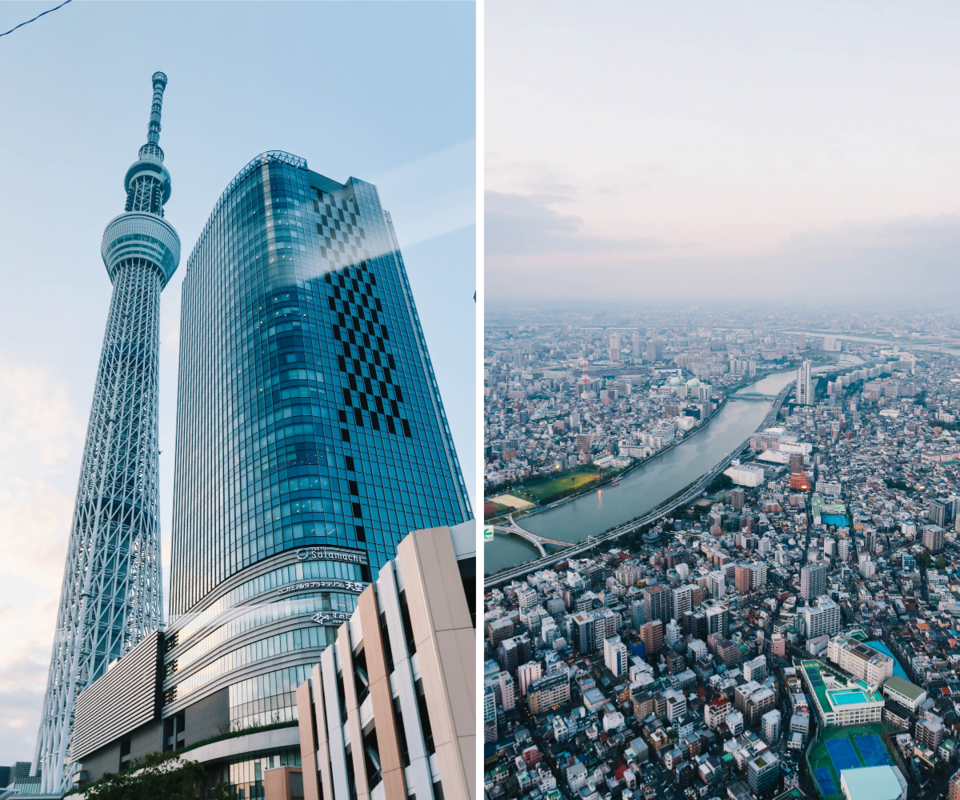 Tokyo Skytree and the view from the observation deck.