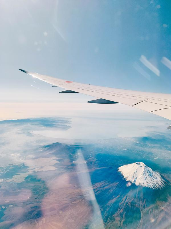 The view of Mt. Fuji from the sky.